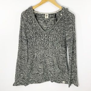 Roxy Gray Ribbed Hooded Sweater, Size L